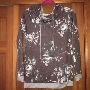 NWT Mauve, grey, and white floral hoodie